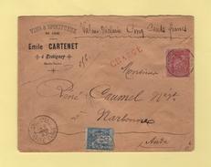 Fretigney - Haute Saone - 8 Fevr 1893 - Valeur Declaree - Vins Et Spiritueux - Marcofilie (Brieven)