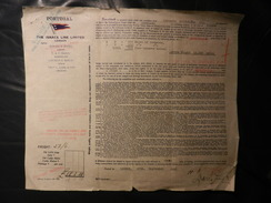 DOC2) PORTUGAL THE ISAACS LINE LIMITED NAVE TRASPORTO SUGHERO CORKWOOD 1937 NAVE KIRKLAND - Portugal
