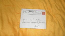 ENVELOPPE UNIQUEMENT DE 1928. / FEVRE & CIE CARRIERES & SCIERIES.../ PARIS 8e / CACHET + TIMBRE - Storia Postale