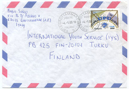1999 UPU  L. 900 ISOLATO 4.1.00  BUSTA X FINLANDIA RARA DESTINAZIONE E OTTIMA QUALITÀ (7011) - 6. 1946-.. Repubblica