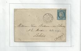 1L... Du 27 Nov 1877...avec Un N° 60 Aux Dents Coupées....cachet D'ambulant Cette à Bordeaux.......à Voir......... - Abarten Und Kuriositäten