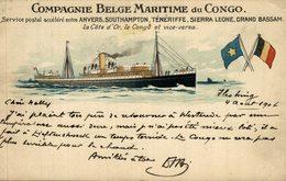 COMPAGNIE BELGE MARITIME DU CONGO ANVERS SOUTHAMPTON TENERIFFE SIERRA LEONE GRAND BASSAM  LA COTE D´OR  BATEAU BOAT BOOT - Paquebots