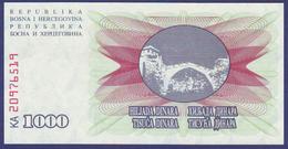 Bosne I Hercegovine 1992 1000 DINARA UNC - Bosnia Y Herzegovina