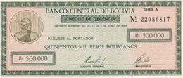 Bolivia 1984 500.000 PESOS BOLIVIANOS UNC - Bolivia