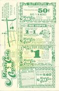 Monte Carlo Casino Reno, NV - Paper Coupon Sheet - 5.5 X 8.5 Inches - Advertising
