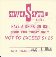 Silver Spur Casino - Reno, NV - Free Drink Coupon From Sept 1, 1978 - Approx 6cm Square - Advertising