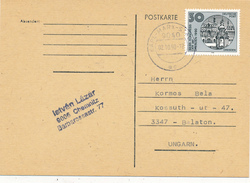 KARL-MARX-STADT  - 1990 , Karte Nach Balaton / Ungarn - Cartas