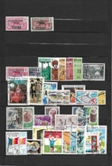 TCHAD LOT FOND DE COLLECTION 2 TIMBRES MH/*(COLONIE)+ 33 TIMBRES 0/USED(REPUBLIQUE)