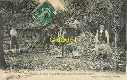 44 Blain, Les Sabotiers Dans La Forêt Du Gavre, Beau Plan Des Ouvriers Avec Leurs Outils, Affranchie 1908 - Blain