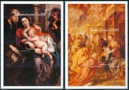 1999 Sierra Leone Rubens Natale Christmas Noel Quadri Paintings Peintures Set 2 Block MNH** RR63 - Sierra Leone (1961-...)