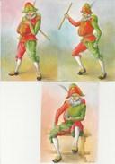 ENFANCE   THEME   -  SERIE  POLICHINELLE  - Signé VIRGINIE   LOT DE 3 CARTES - Cartes Humoristiques