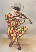 ENFANCE   THEME   -  SERIE ARLEQUIN   - Signé VIRGINIE   LOT DE 3 CARTES - Cartes Humoristiques