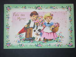 Ref5578 CPA Fête Des Mères Avec Découpis Carte Fantaisie à Relief Couple D'enfants Avec Chien Dans Décor Fleuri (ORL4) - Fête Des Mères