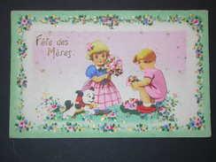 Ref5582 CPA Fête Des Mères Avec Découpis Carte Fantaisie à Relief Fillette Et Garçonnet Ramassant Des Fleurs ORL4) - Moederdag