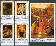 1990 Sierra Leone Natale Christmas Noel Quadri Paintings Peintures Set + Block MNH** RR65 - Sierra Leone (1961-...)