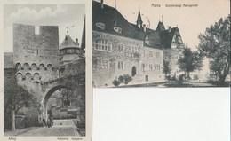 2 CPA  ALLEMAGNE ALZEY SCHLOSSTOR HELLGASSE + GROBHERZOGL. AMTSGERICHT - Alzey