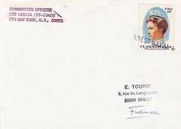LETTRE COMMANDING OFFICIER  USS GARCIA  NEW YORK BREST NAVAL CACHET EN LIGNE - Marcophilie (Lettres)