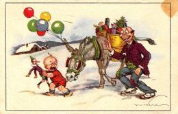 [DC3941] CPA - BAMBINO CON PINOCCHIO ASINO E PALLONCINI - NEVE - Non Viaggiata - Old Postcard - Illustratori & Fotografie