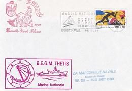 LETTRE BEGM THETIS SEVILLE CORVETTE GANTS BLANCS BREST NAVAL 29/5/1992 - Marcophilie (Lettres)