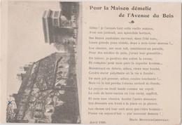 POUR LA MAISON DEMOLIE DE L'AVENUE DU BOIS - MARIE MONFILS-CHESNEAU - Schriftsteller