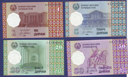 Tajikistan 1999 1 5 20 50 DIRAMS UNC - Tayikistán