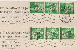 Surcharges EA Différentes Sur 3 Moisonneuses, NEMOURS TLEMCEN  Algérie Sur 2 Enveloppes Pour Meknes Maroc. - Algérie (1962-...)