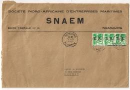 Surcharges EA, NEMOURS TLEMCEN  Algérie Sur Enveloppe Pour Meknes Maroc. - Algérie (1962-...)