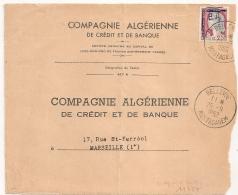 Surcharges EA Stylo,  BELLEVUE MOSTAGANEM Algérie Sur DEVANT D' Enveloppe Pour Marseille. - Algérie (1962-...)