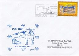 BSM BATIMENT DE SOUTIEN MOBILE LOIRE LUG 2000 BREST NAVAL 24/8/00 TIMBRE PARLEMENT DE BRETAGNE - Marcophilie (Lettres)