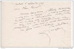 LUCIEN BRASSEUR (1878 SAULTAIN 1960 PARIS) SCULPTEUR FRANCAIS (GARE DE BREST .STATUE TROCADERO) LETTRE A SIGNATURE 1935 - Autographes