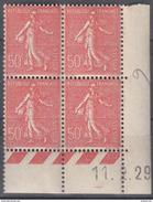 Semeuse 50 C. Lignée Rouge 199 En Bloc De 4 Coin Daté - 1903-60 Säerin, Untergrund Schraffiert