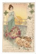 16256 - Glückliches Neujahr Elégnate Femme Sur Attelage Tiré Par 3 Cochons Envoyée Basel 1900 - Nouvel An