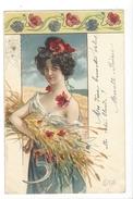 16257 - Eté Belle Femme Avec Gerbe De Blé Et Coquelicots Envoyée En 1900 - Illustrateurs & Photographes