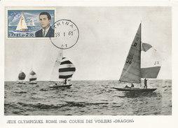 D28712 CARTE MAXIMUM CARD 1961 GREECE - PRINCE CONSTANTINE - OLYMPIC MEDAL SAILING DRAGON CLASS CP ORIGINAL