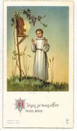 IMAGE PIEUSE HOLY CARD SANTINI CHROMO : Ô Jésus Je Vous Offre Mon Âme  Souvenir Nicole SERRE St REMY De DRAVEIL - Andachtsbilder