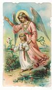 IMAGE PIEUSE HOLY CARD SANTINI CHROMO : L'Ange Gardien - Images Religieuses