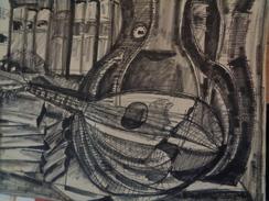 TESSON Gérard.Feutre Noir.Livres Et Instruments De Musique.dessin :640 X 480 Mm. - Dibujos