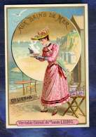 Chromo LIEBIG S301 BAINS DE MER 1891 FEMME OMBRELLE Old Trade Card Seaside Bath - Liebig