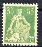 Svizzera 1908 N. 122A (carta Goffrata) C. 35 Verde E Giallo MLH Cat. € 6 - Svizzera