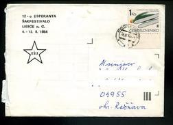 Marcophilie,lettre Repiqué Esperanto1984 Libice Tchecoslovaquie Pour La Frane,etoile ESLI Jeux D'echec,sport Saut De Ski - Esperanto