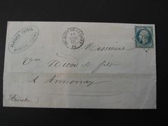 LOIRE-Belmont De La Loire- 84- GC 437 Sur N° 22 + T15 De 1863 - Postmark Collection (Covers)