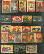 India 1950's 22 Different Match Box Labels Elephant Bird Lion Flower Ship Animal - Matchbox Labels