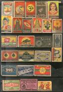 India 1950's 25 Different Match Box Labels Elephant Bird Lion Flower Ship Animal - Matchbox Labels