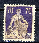 SSvizzera 1924 - 25 N. 207A (carta Goffrata)  C. 70 Violetto E Bistro MNH Cat. € 95 - Svizzera