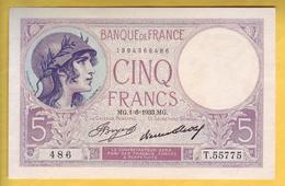 BILLET FRANCAIS - 5 Francs Violet 1-6-1933 SUP+ - 5 F 1917-1940 ''Violet''