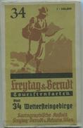 Wettersteingebirge 1951 - Touristenkarten - Blatt 34 Kartographische Anstalt Freytag-Berndt U. Artaria Wien - 64cm X 70c - Landkarten
