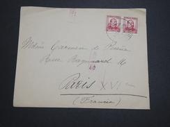 ESPAGNE - Enveloppe De Burgos Pour Paris En 1937 , Cachet De Censure - A Voir - L 6119 - Marcas De Censura Nacional