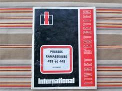 75 PARIS 19e  INTERNATIONAL HARVESTER  MC CORMICK Livret D Entretien PRESSES RAMASSEUSES 435 Et 445 - Tractors