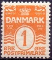 DENEMARKEN 1907-12 1öre Golflijn WM Kroon Perf 12¾ PF-MNH