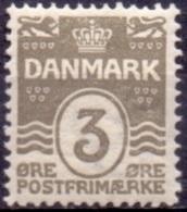 DENEMARKEN 1907-12 3öre Golflijn WM Kroon Perf 12¾ PF-MNH